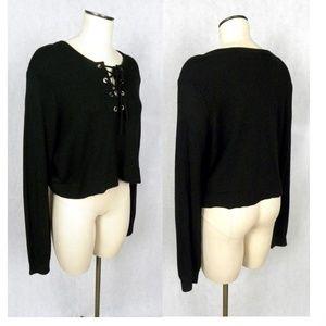 NEW Avec les Filles Black Crop Lace Up Sweater NWT